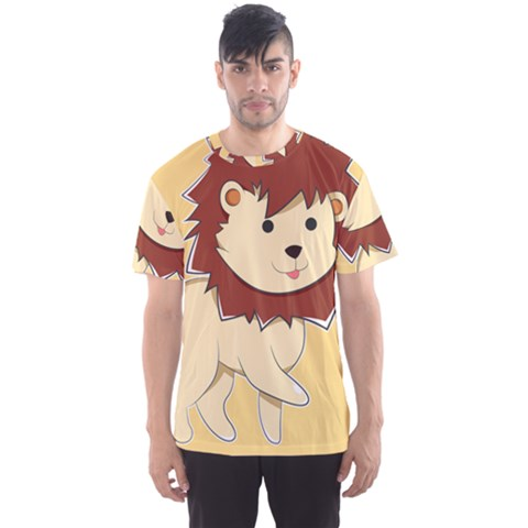Happy Cartoon Baby Lion Men s Sports Mesh Tee by Catifornia