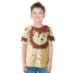 Happy Cartoon Baby Lion Kids  Cotton Tee by Catifornia
