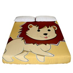 Happy Cartoon Baby Lion Fitted Sheet (california King Size)