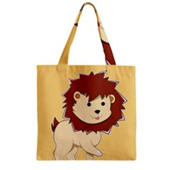 Happy Cartoon Baby Lion Zipper Grocery Tote Bag by Catifornia