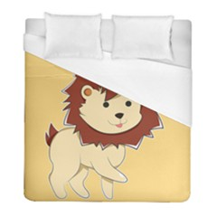 Happy Cartoon Baby Lion Duvet Cover (full/ Double Size) by Catifornia