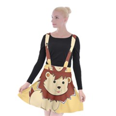 Happy Cartoon Baby Lion Suspender Skater Skirt by Catifornia