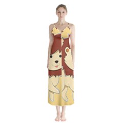 Happy Cartoon Baby Lion Button Up Chiffon Maxi Dress by Catifornia