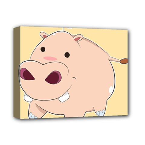 Happy Cartoon Baby Hippo Deluxe Canvas 14  X 11  by Catifornia