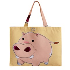 Happy Cartoon Baby Hippo Medium Zipper Tote Bag by Catifornia