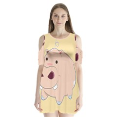 Happy Cartoon Baby Hippo Shoulder Cutout Velvet  One Piece by Catifornia
