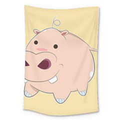 Happy Cartoon Baby Hippo Large Tapestry by Catifornia