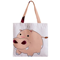 Happy Cartoon Baby Hippo Grocery Tote Bag by Catifornia