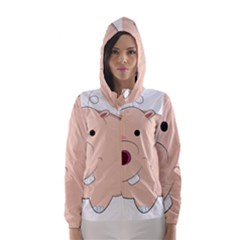 Happy Cartoon Baby Hippo Hooded Wind Breaker (women) by Catifornia
