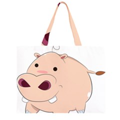 Happy Cartoon Baby Hippo Zipper Large Tote Bag by Catifornia