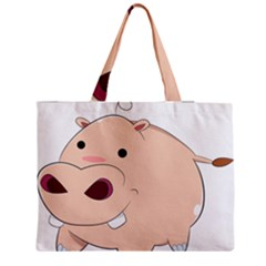 Happy Cartoon Baby Hippo Medium Tote Bag by Catifornia