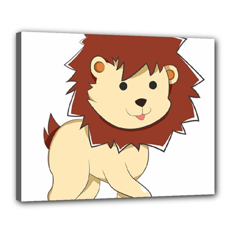 Happy Cartoon Baby Lion Canvas 20  X 16  by Catifornia
