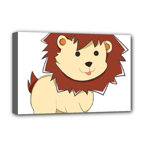 Happy Cartoon Baby Lion Deluxe Canvas 18  X 12   by Catifornia