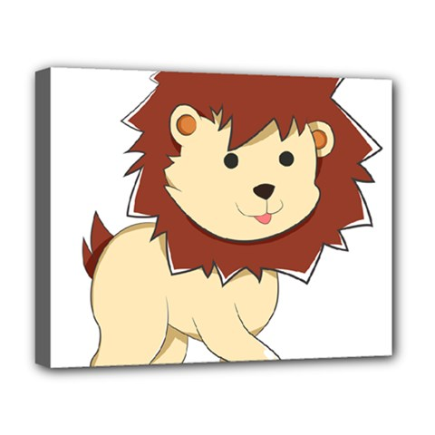 Happy Cartoon Baby Lion Deluxe Canvas 20  X 16   by Catifornia