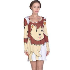 Happy Cartoon Baby Lion Long Sleeve Nightdress by Catifornia