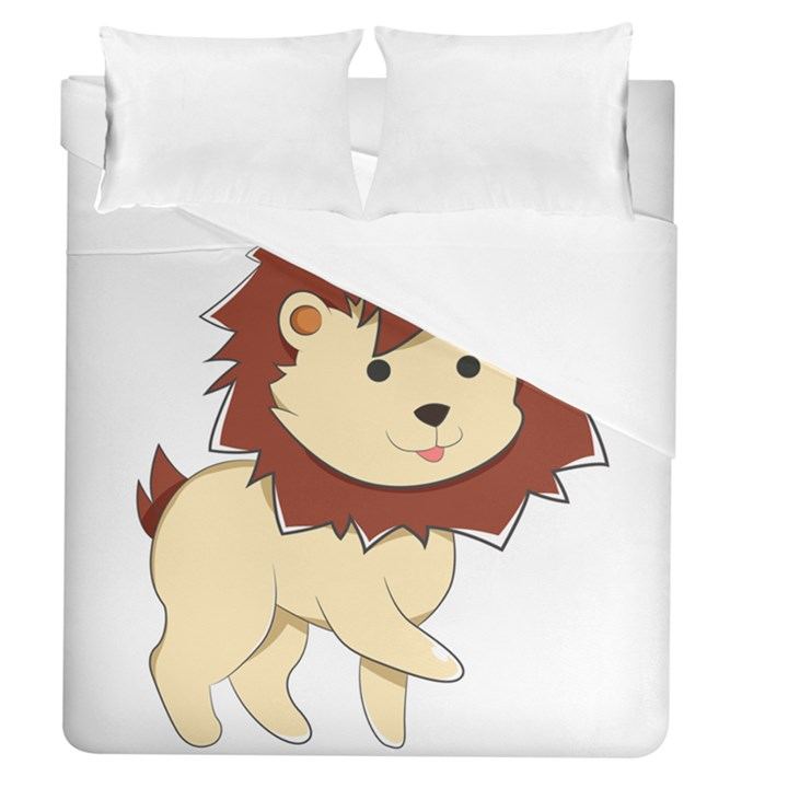 Happy Cartoon Baby Lion Duvet Cover (Queen Size)