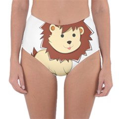Happy Cartoon Baby Lion Reversible High Waist Bikini Bottoms