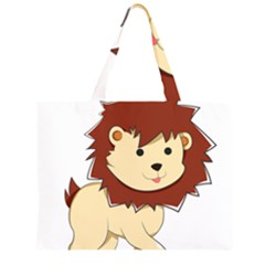 Happy Cartoon Baby Lion Zipper Large Tote Bag by Catifornia