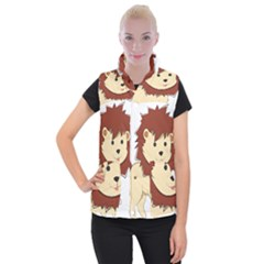 Happy Cartoon Baby Lion Women s Button Up Puffer Vest by Catifornia