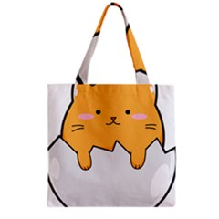 Yellow Cat Egg Grocery Tote Bag by Catifornia