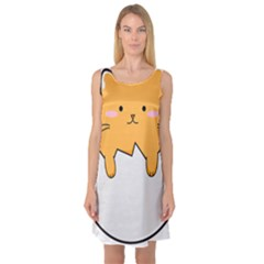 Yellow Cat Egg Sleeveless Satin Nightdress by Catifornia