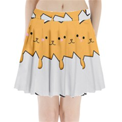 Yellow Cat Egg Pleated Mini Skirt