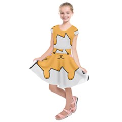 Yellow Cat Egg Kids  Short Sleeve Dress by Catifornia