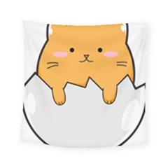 Yellow Cat Egg Square Tapestry (small) by Catifornia