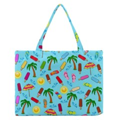 Beach Pattern Medium Zipper Tote Bag