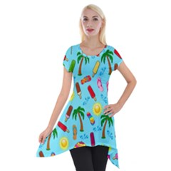 Beach Pattern Short Sleeve Side Drop Tunic