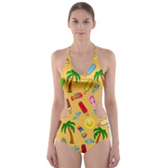Beach Pattern Cut Out One Piece Swimsuit