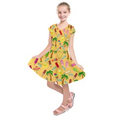 Beach Pattern Kids  Short Sleeve Dress by Valentinaart