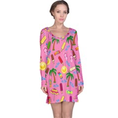Beach Pattern Long Sleeve Nightdress