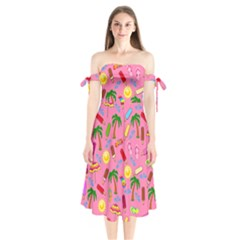 Beach Pattern Shoulder Tie Bardot Midi Dress by Valentinaart