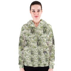 Geometic White Flowers Women s Zipper Hoodie by SusanFranzblau
