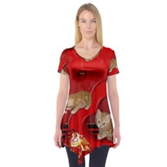 Cute, Playing Kitten With Hearts Short Sleeve Tunic  by FantasyWorld7