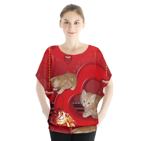 Cute, Playing Kitten With Hearts Blouse by FantasyWorld7