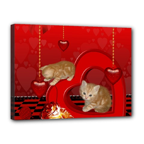 Cute, Playing Kitten With Hearts Canvas 16  X 12  by FantasyWorld7