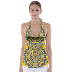 Happy Fantasy Earth Mandala Babydoll Tankini Top by pepitasart