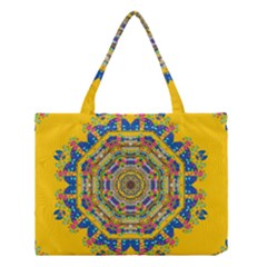 Happy Fantasy Earth Mandala Medium Tote Bag by pepitasart