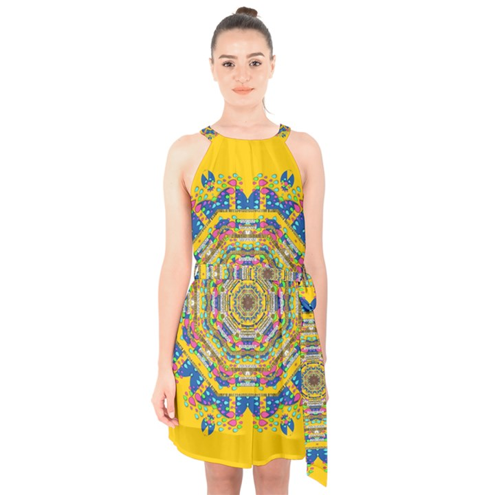 Happy Fantasy Earth Mandala Halter Collar Waist Tie Chiffon Dress
