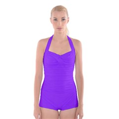 Neon Purple Solid Color  Boyleg Halter Swimsuit  by SimplyColor
