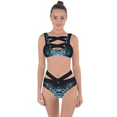 Blue Feathered Bandaged Up Bikini Set