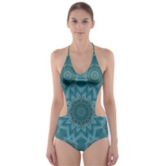 Wood And Stars In The Blue Pop Art Cut Out One Piece Swimsuit by pepitasart