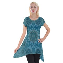 Wood And Stars In The Blue Pop Art Short Sleeve Side Drop Tunic by pepitasart
