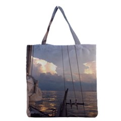 Sailing Into The Storm Grocery Tote Bag by oddzodd
