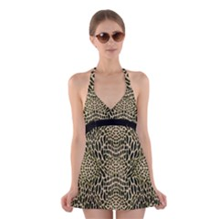 Brown Reptile Halter Swimsuit Dress