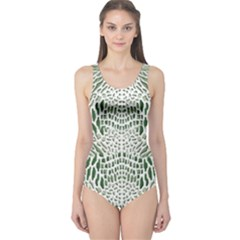 Green Snake Texture One Piece Swimsuit by LetsDanceHaveFun