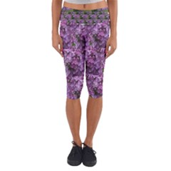 Purple Flowers With Kitty Capri Yoga Leggings by SusanFranzblau