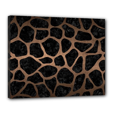 Skin1 Black Marble & Bronze Metal (r) Canvas 20  X 16  (stretched) by trendistuff